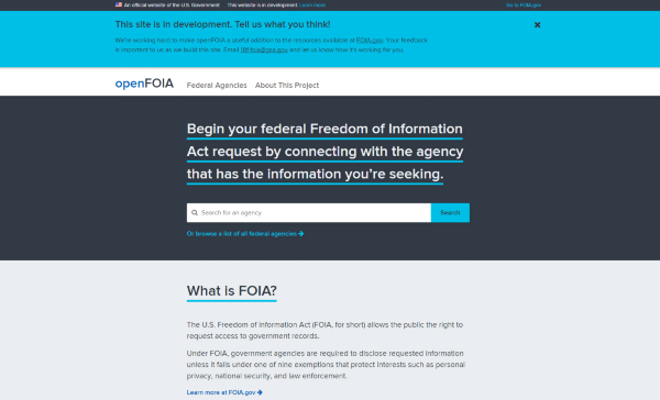 A New Front Door for the FOIA Request Process