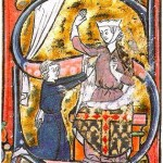 The earliest known visual depiction of a heart symbol, as a lover hands his heart to the beloved lady, in a manuscript of the Roman de la poire, mid-13th century.