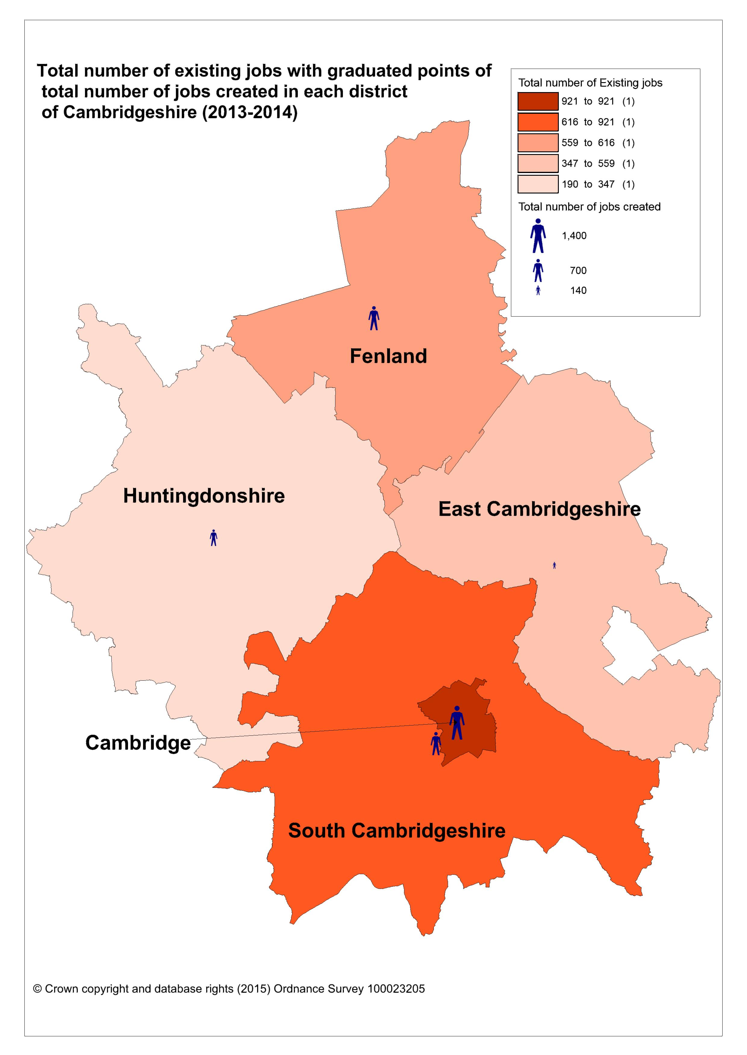 Where are new jobs being created and where are the growth areas within Cambridgeshire?