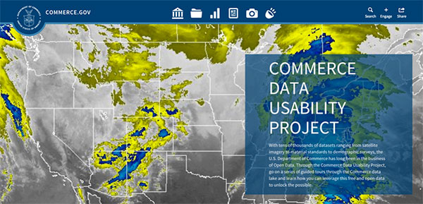 Screen capture of the Commerce Data Usability Project. homepage.